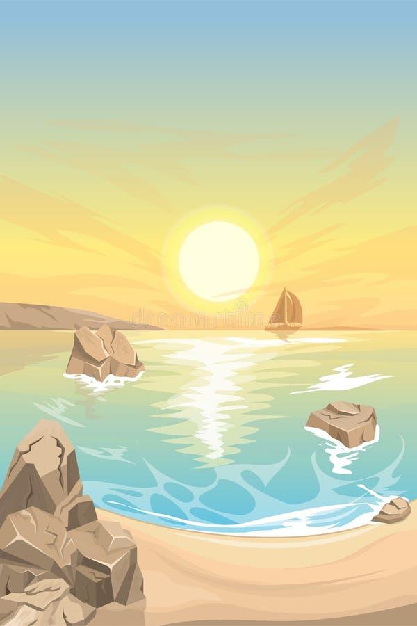Por do sol do Seascape Paisagem do vetor fotografia de stock royalty free