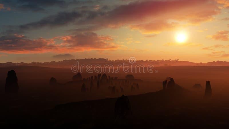 Por do sol do Stonehenge da Irlanda ilustração do vetor