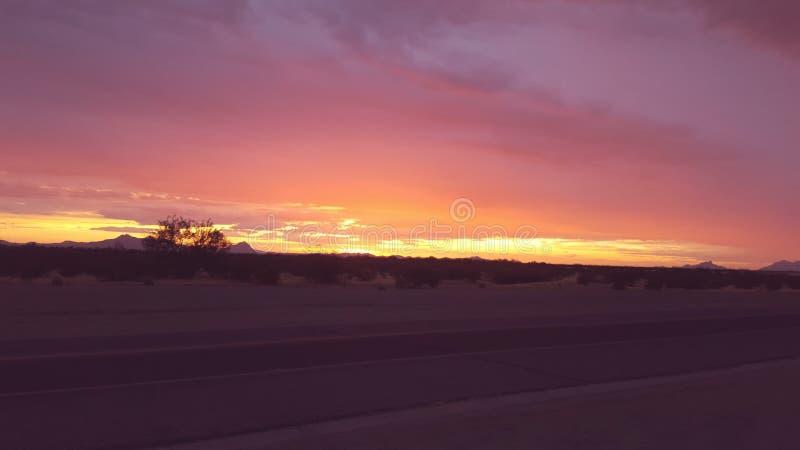 Por do sol do sudoeste da monção do Arizona fotos de stock royalty free