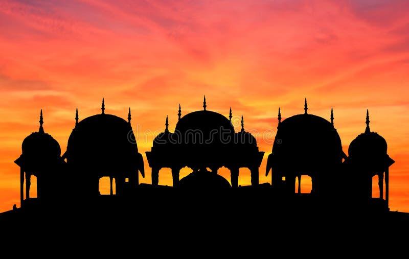 Por do sol do templo de Rajasthan fotos de stock royalty free