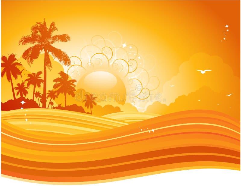 Por do sol do verão ilustração royalty free
