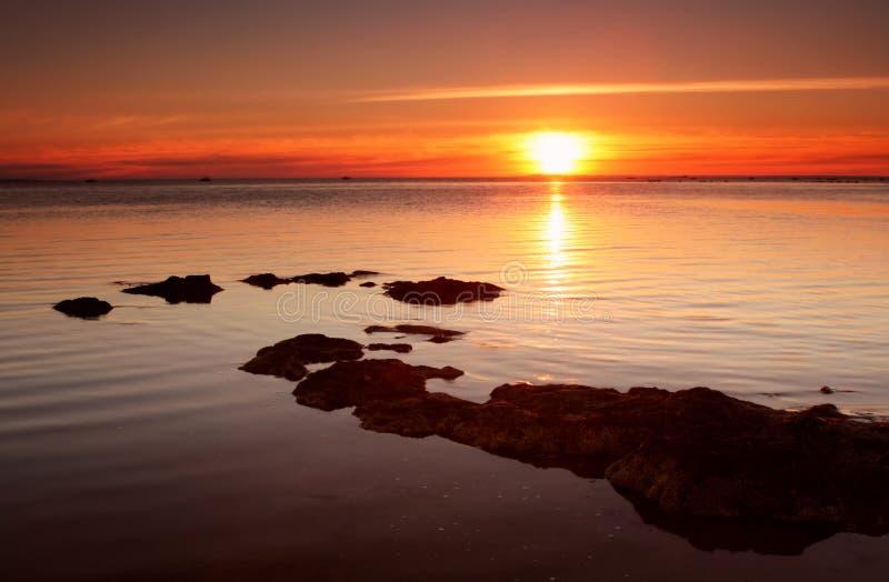 Por do sol do Vermelho-Ouro foto de stock royalty free