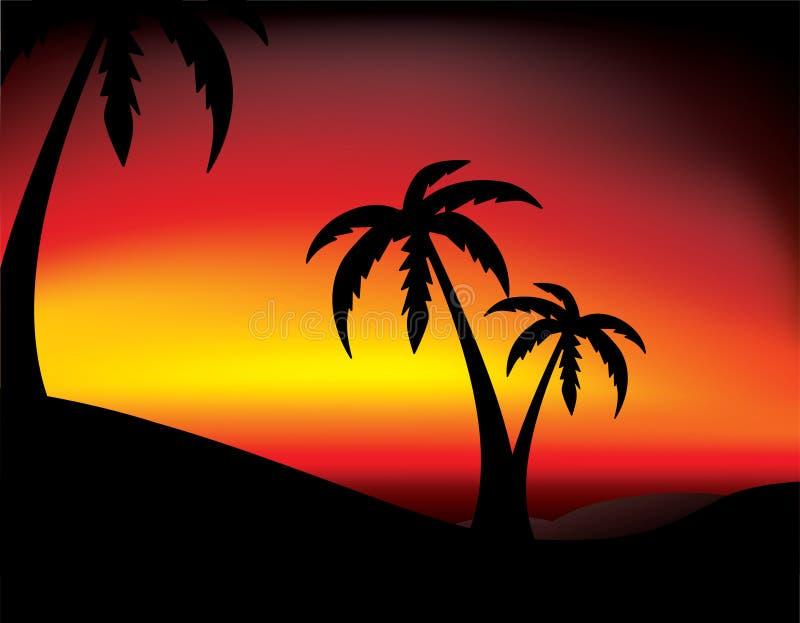 Por do sol do vetor com palma ilustração royalty free