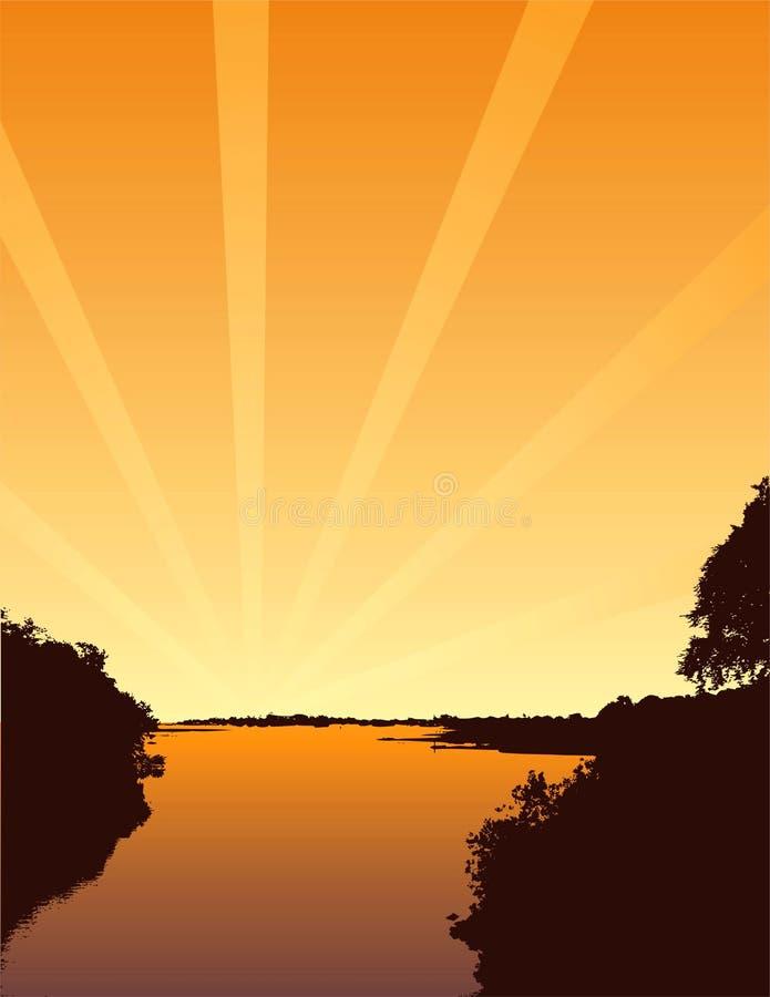 Por do sol dourado ilustração do vetor