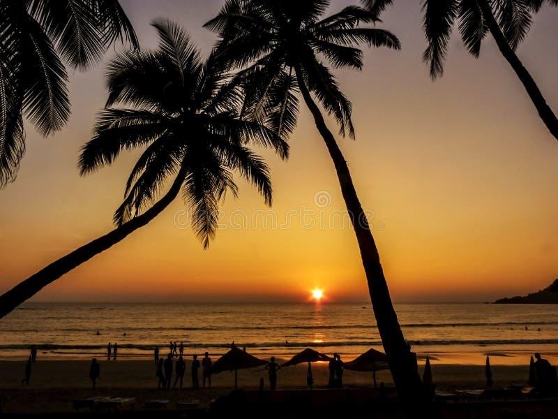 Por do sol dourado bonito na praia, GOA, Índia foto de stock