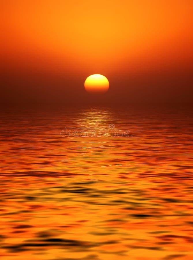 Por do sol dourado da esfera ilustração stock