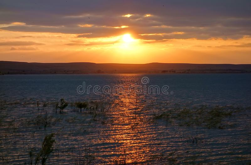 Por do sol dourado no lago Wilson foto de stock royalty free