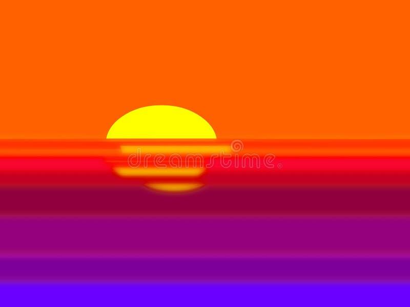 Por do sol dramático obscuro ilustração do vetor