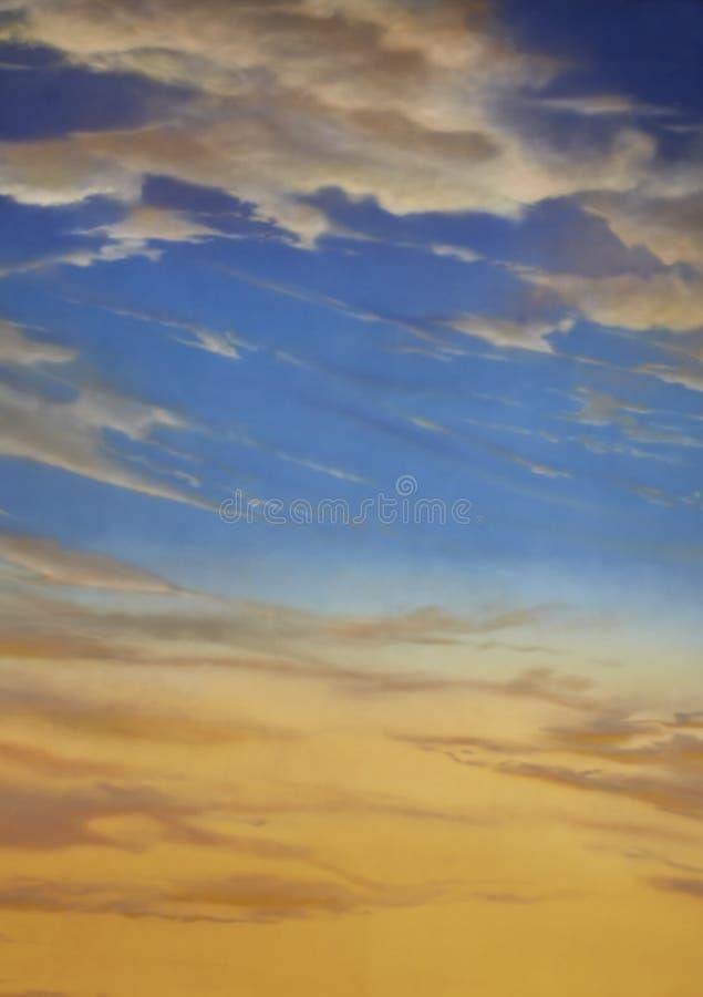 Por do sol e céu azul fotografia de stock