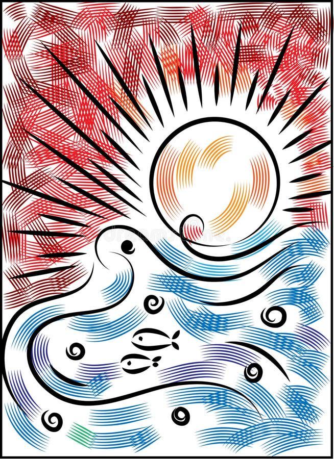 Por do sol e nascer do sol no mar ilustração royalty free