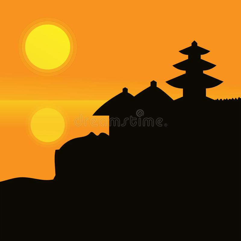 Por do sol e pagode ilustração do vetor