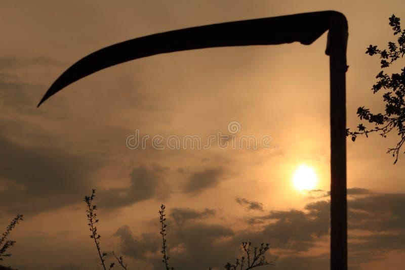 Por do sol e scythe do campo fotografia de stock royalty free