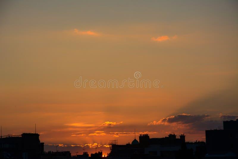Por do sol, Edimburgo foto de stock