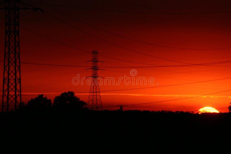 Por do sol elétrico foto de stock royalty free