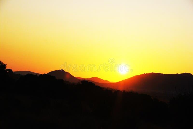 Por do sol em África do Sul foto de stock