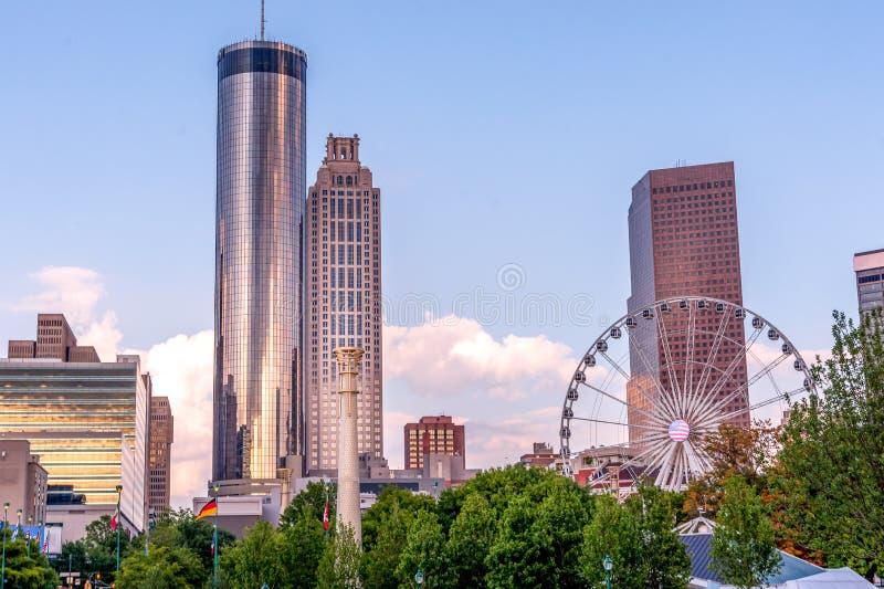 Por do sol em Atlanta no parque olímpico centenário imagens de stock