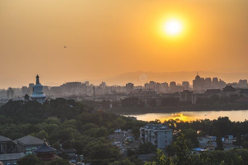 Por do sol em Beijing fotografia de stock royalty free