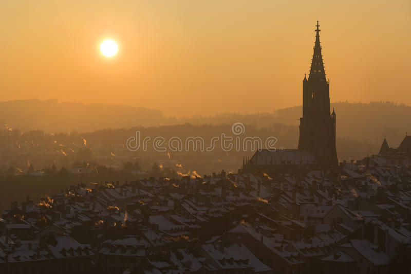 Por do sol em Berna fotos de stock