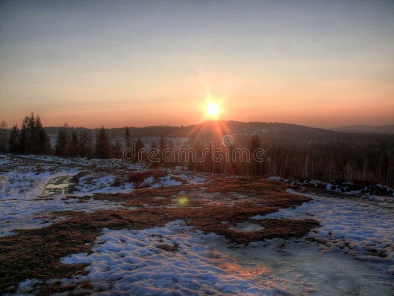 Por do sol em Brdy foto de stock