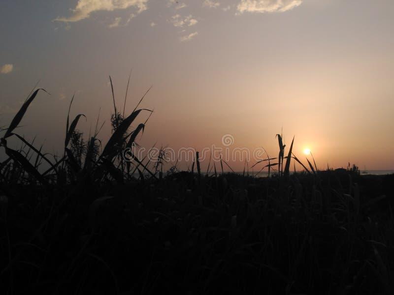 Por do sol em Cadiz imagens de stock