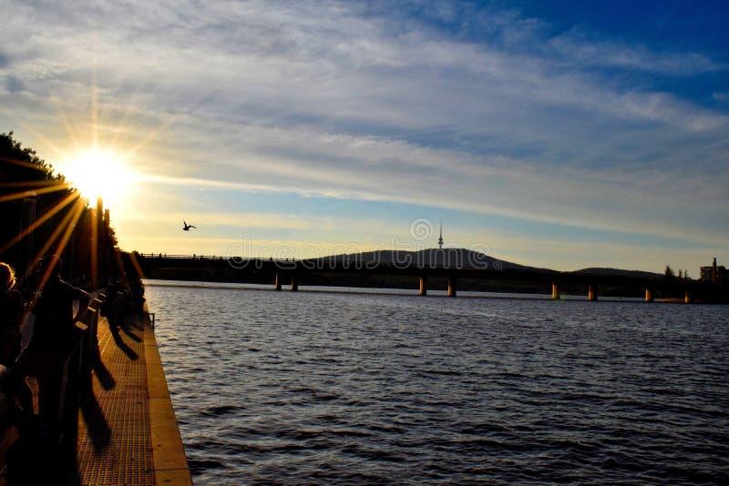 Por do sol em Canberra foto de stock