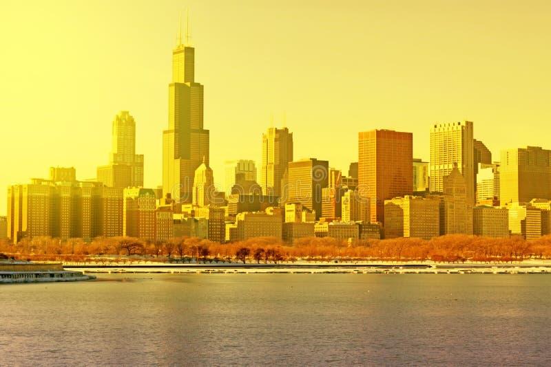 Por do sol em Chicago fotos de stock royalty free