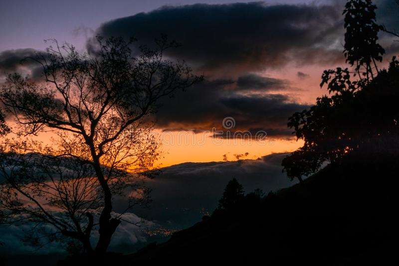 Por do sol em Costa Rica fotos de stock royalty free