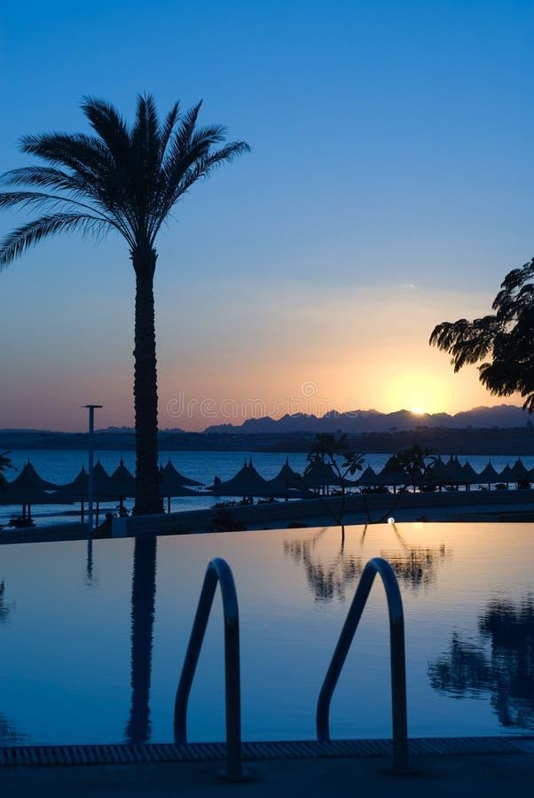Por do sol em Egipto imagens de stock