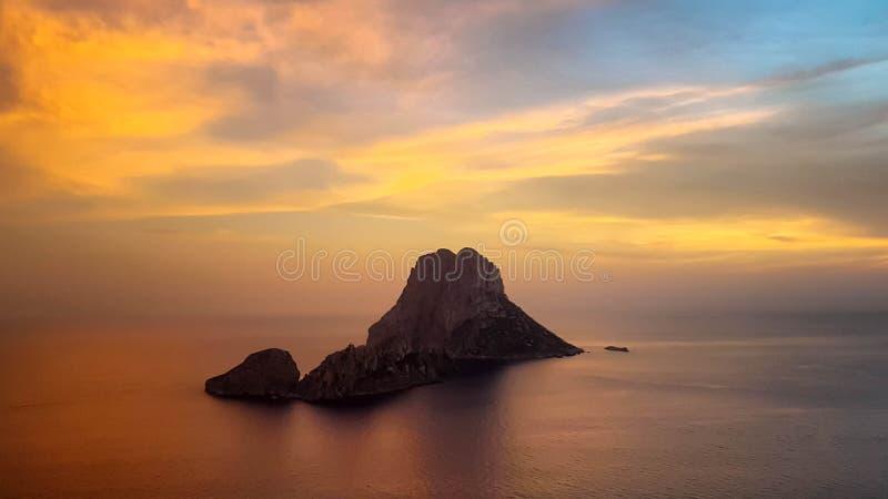 Por do sol em Es Vedra, Ibiza imagens de stock royalty free