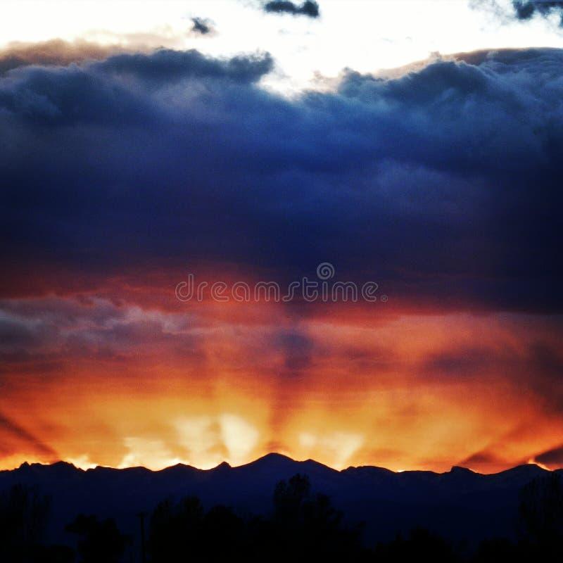 Por do sol em Front Range fotos de stock