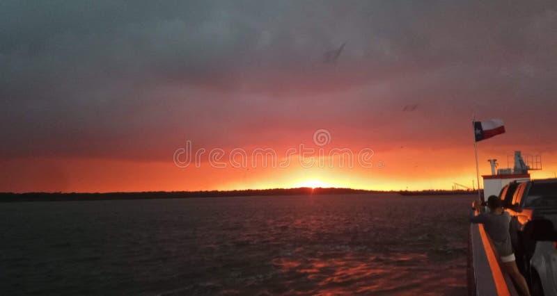 Por do sol em Galveston Texas foto de stock