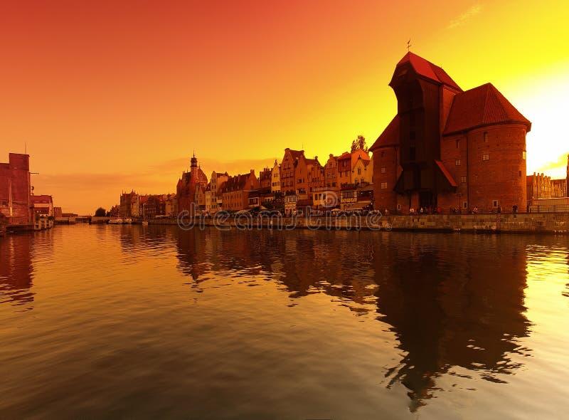 Por do sol em Gdansk imagem de stock royalty free