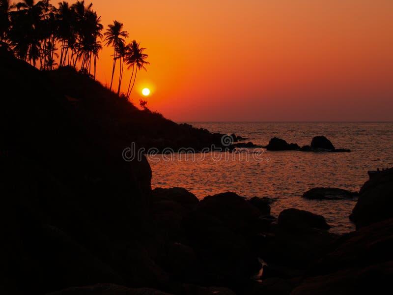 Por do sol em Goa foto de stock