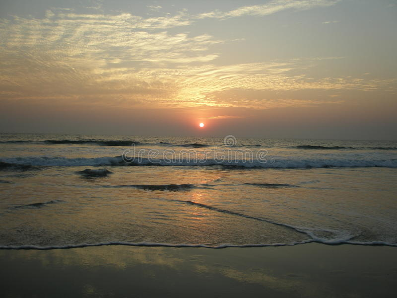 Por do sol em Goa imagem de stock