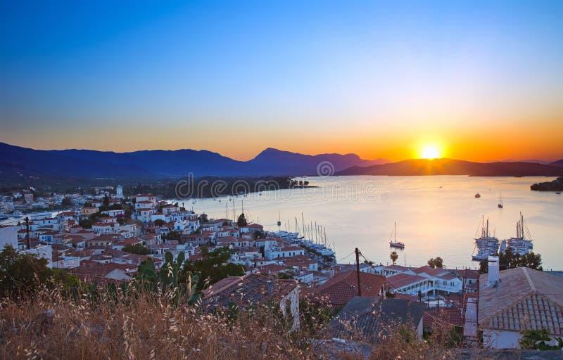 Por do sol em Greece imagem de stock royalty free