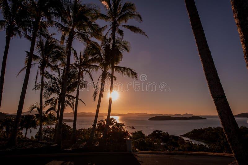 Por do sol em Hamilton Island, Austrália fotografia de stock