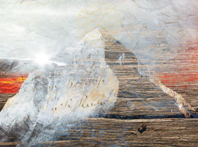 Por do sol em Himalaya, pintura imprimível da arte digital fotografia de stock