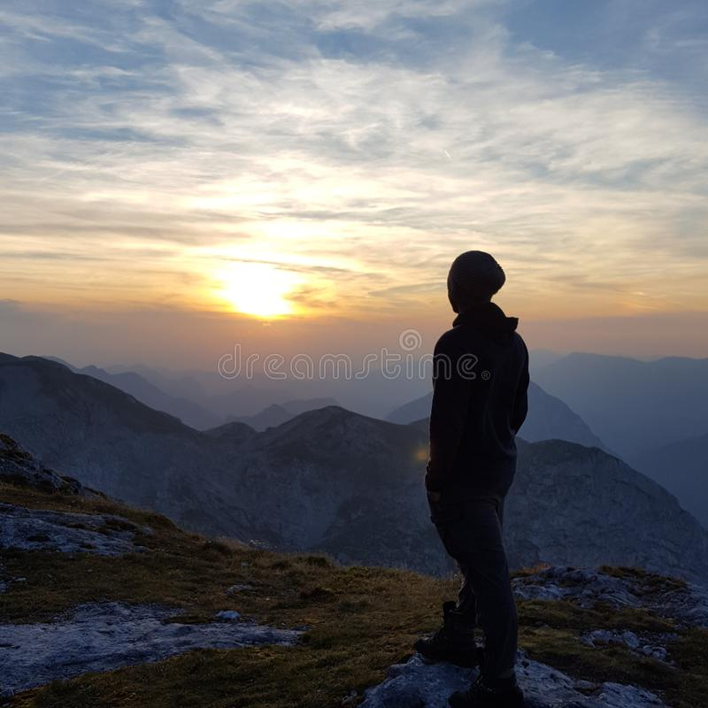 Por do sol em Hochschwab imagem de stock royalty free