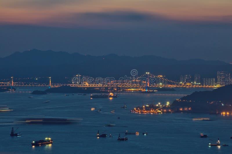 Por do sol em Hong Kong fotografia de stock royalty free