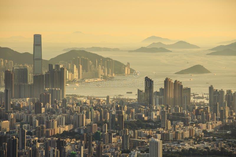 Por do sol em Hong Kong fotos de stock royalty free