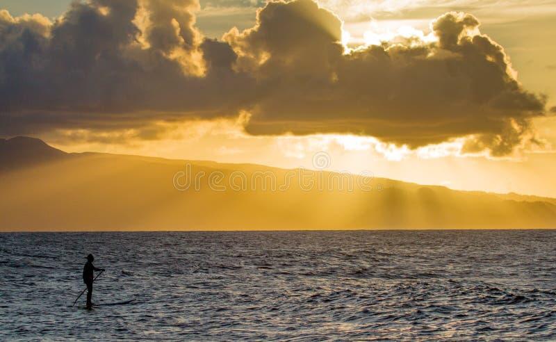 Por do sol em Hookipa, Maui fotos de stock