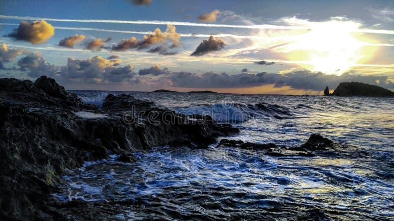 Por do sol em Ilhas Virgens foto de stock