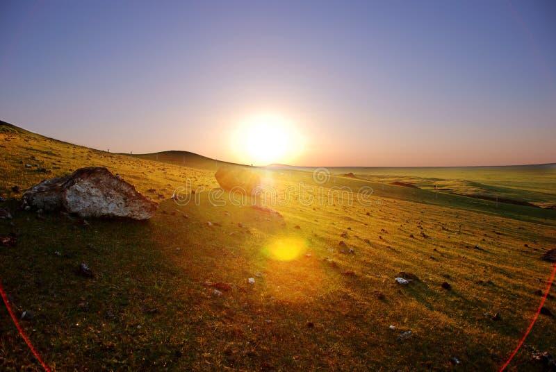 Download Por Do Sol Em Inner Mongolia De China Foto de Stock - Imagem de escala, elevado: 12808654