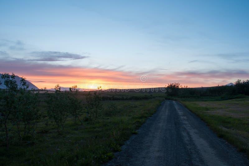 Por do sol em Islândia fotografia de stock
