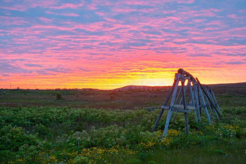Por do sol em Islândia fotos de stock royalty free