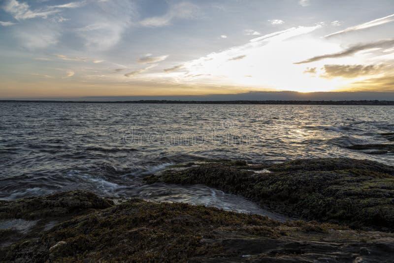 Por do sol em Jamestown RI fotografia de stock royalty free