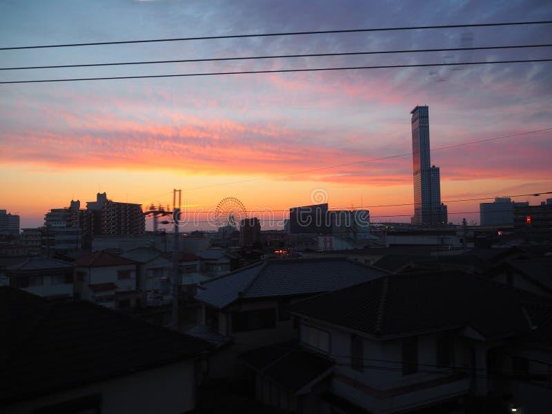 Por do sol em japão fotos de stock