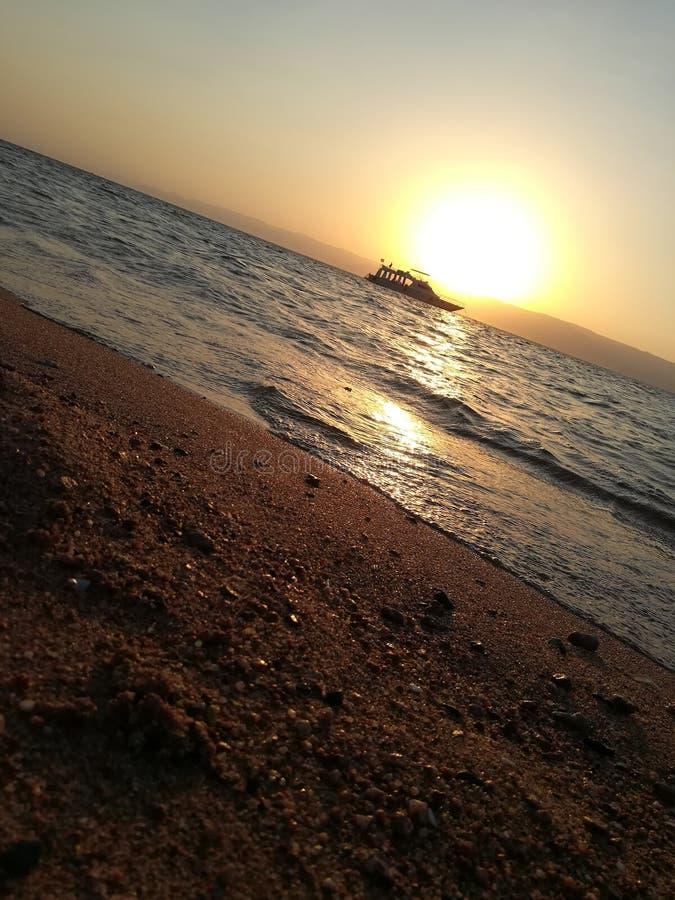 Por do sol em Jordão aqaba fotos de stock royalty free
