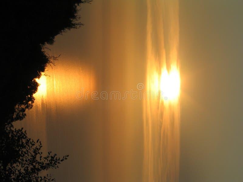 Por do sol em Kerkira fotografia de stock