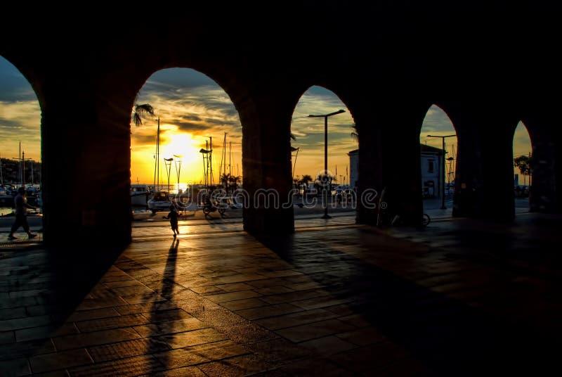 Por do sol em Koper imagem de stock royalty free